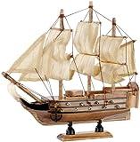 Playtastic Holzschiff: 70-teiliger Schiff-Bausatz Flaggschiff aus Holz (Schiffsmodelle)