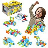 Toptrend Kinder Montage Baufahrzeuge Spielzeugauto Set - 6-in-1 DIY Lernspielzeug Baukasten...